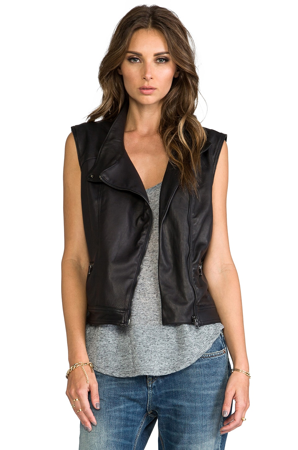rag & bone/JEAN Moto Vest in Black Leather