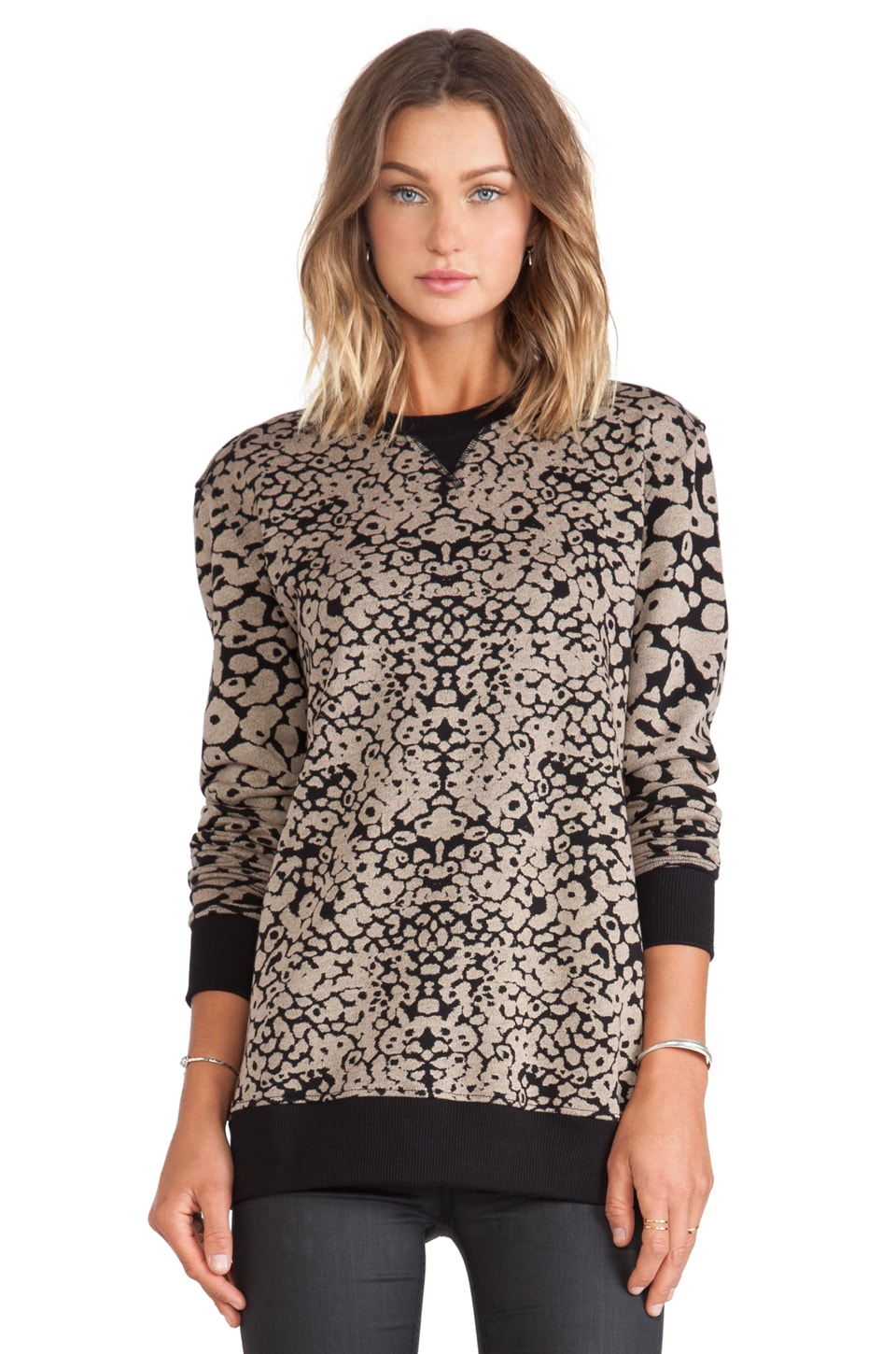 rag & bone/JEAN Amoeba Print Sweatshirt in Black