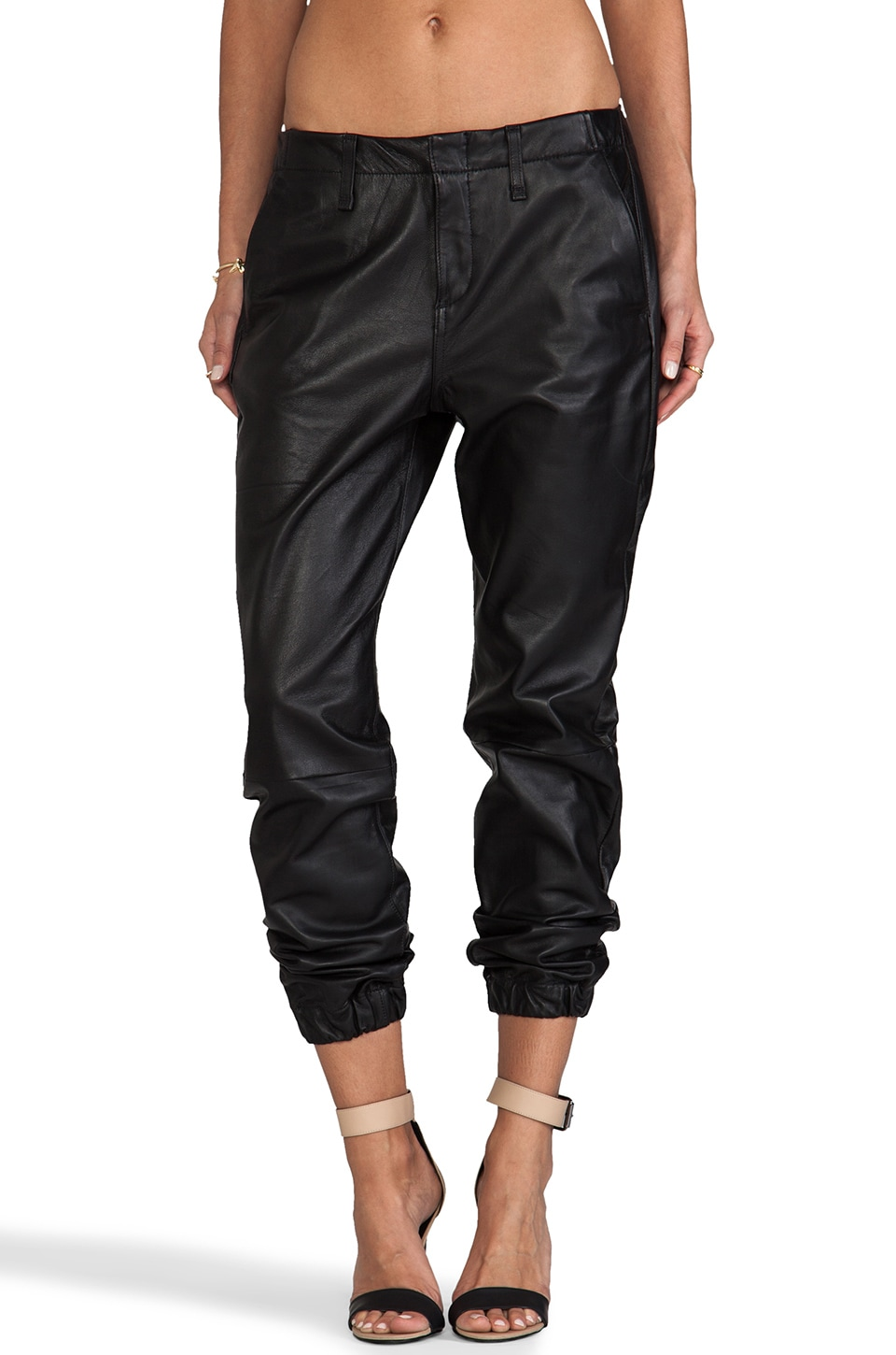 rag & bone/JEAN Pajama Pant in Black Leather