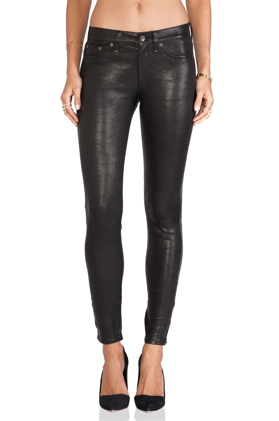 rag & bone/JEAN The Leather Skinny in Washed Black