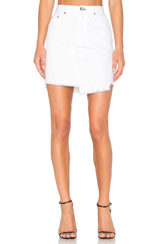 103e98f2b760 White Denim Frayed Hem Skirt - raveitsafe