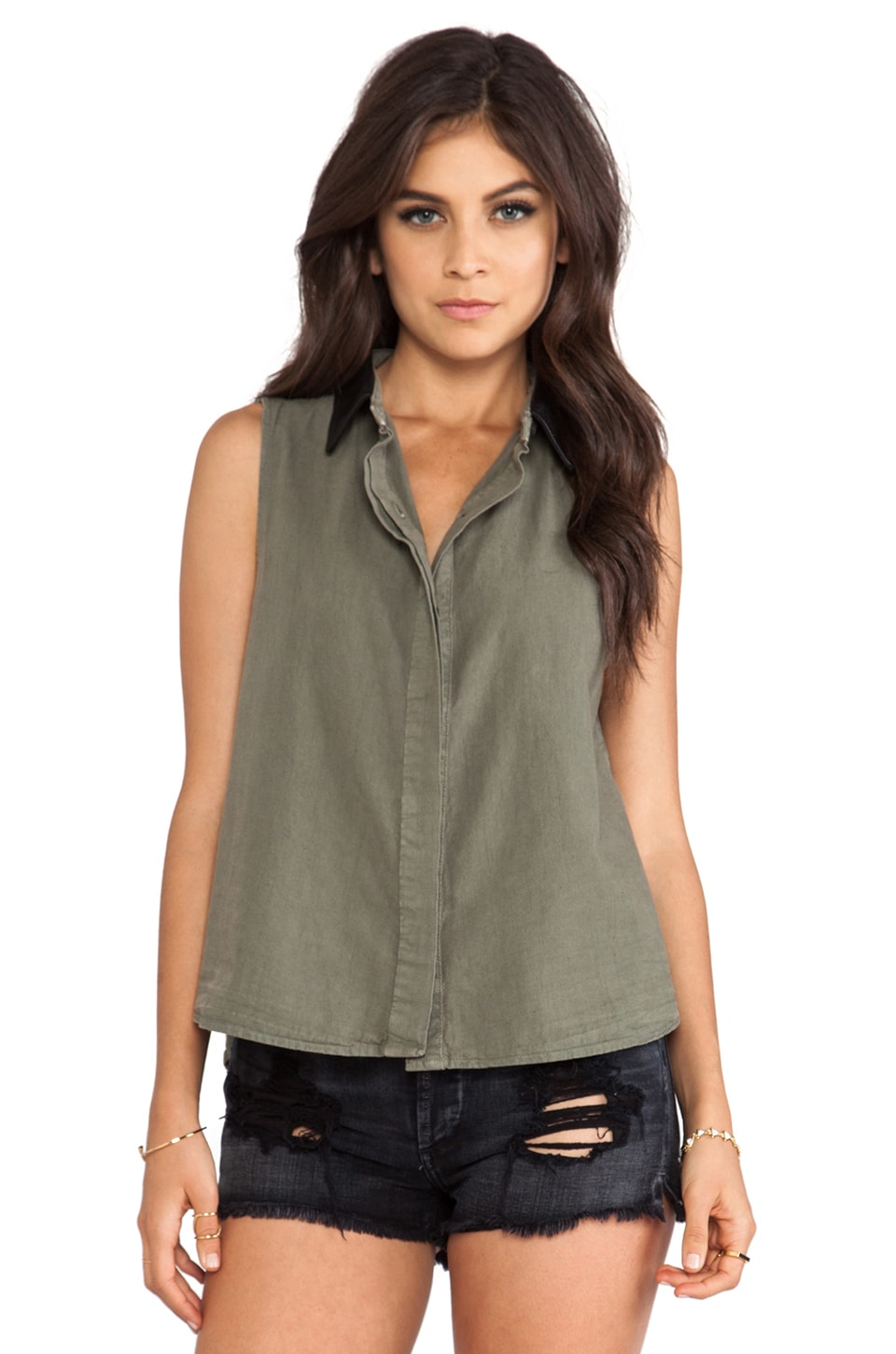 rag & bone/JEAN Tent Tank in Army w/ Leather