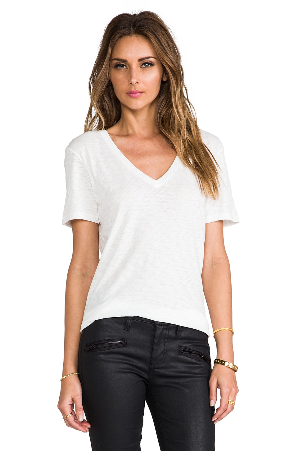 rag & bone/JEAN The Classic V in Bright White