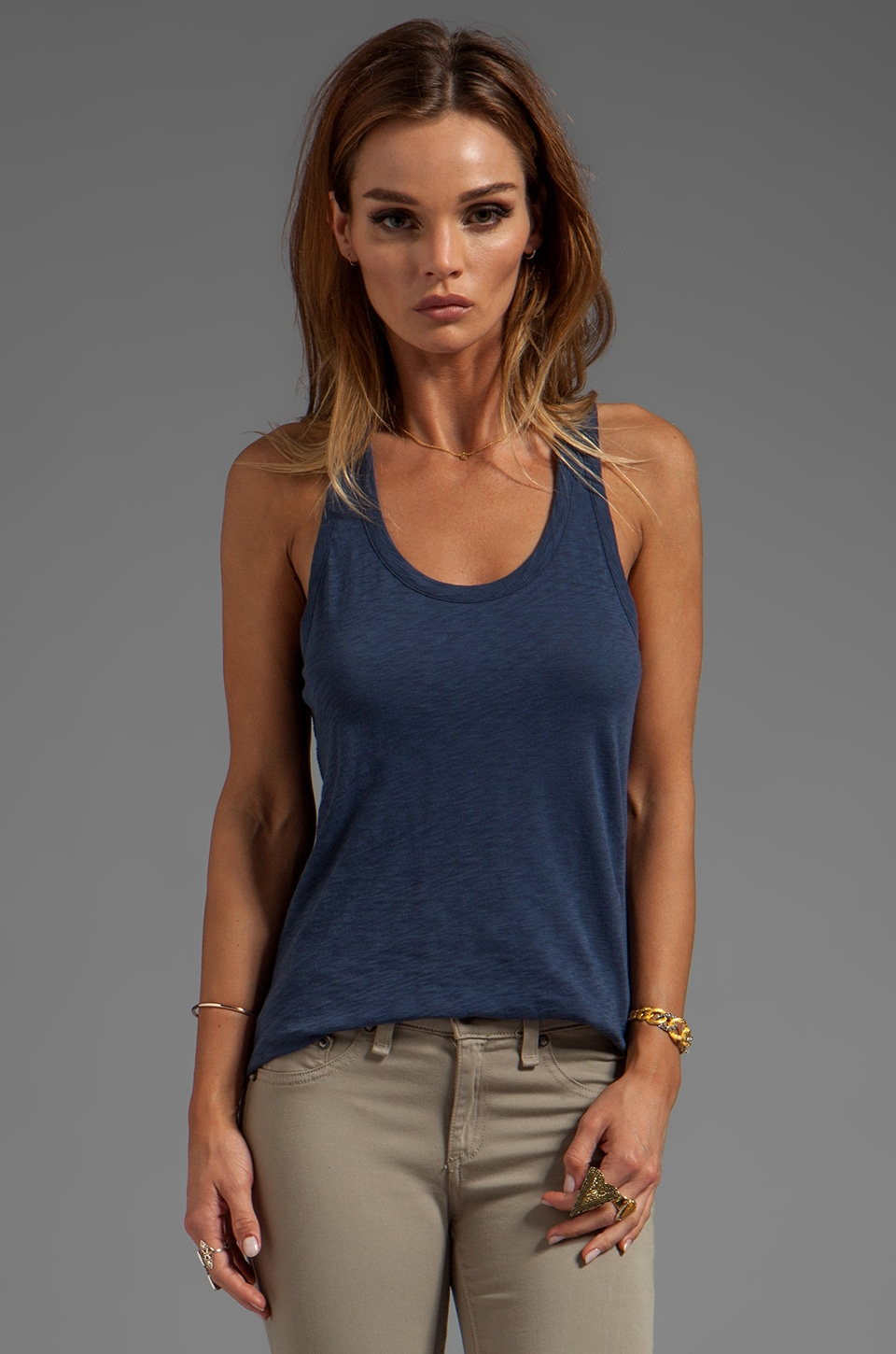 rag & bone/JEAN Classic Beater Tank in Navy