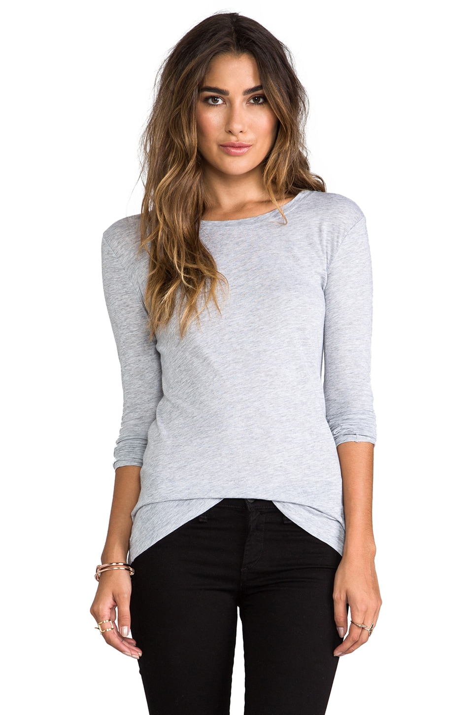 rag & bone/JEAN The Classic Long Sleeve Tee in Light Grey