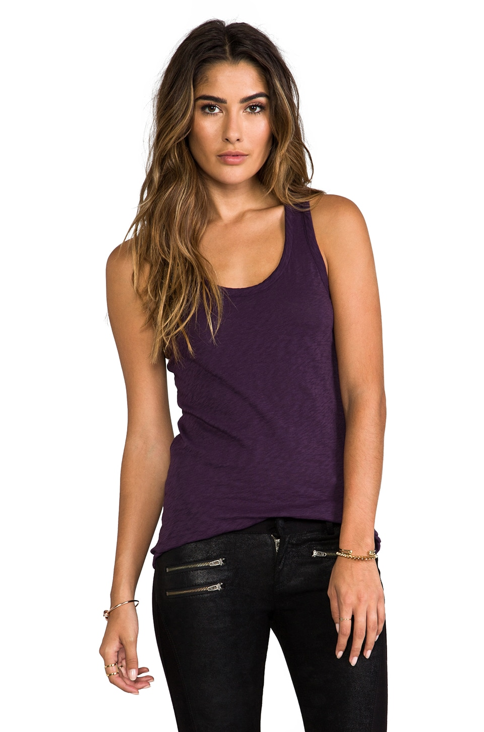 rag & bone/JEAN The Classic Beater Tank in Eggplant