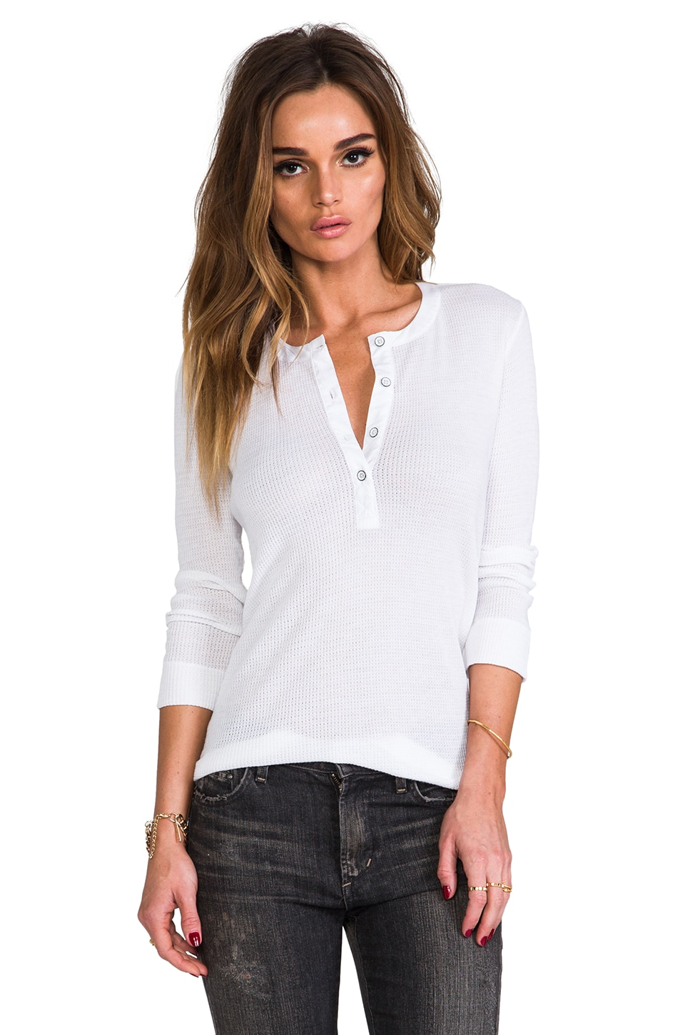 rag & bone/JEAN The Basic Henley in Bright White