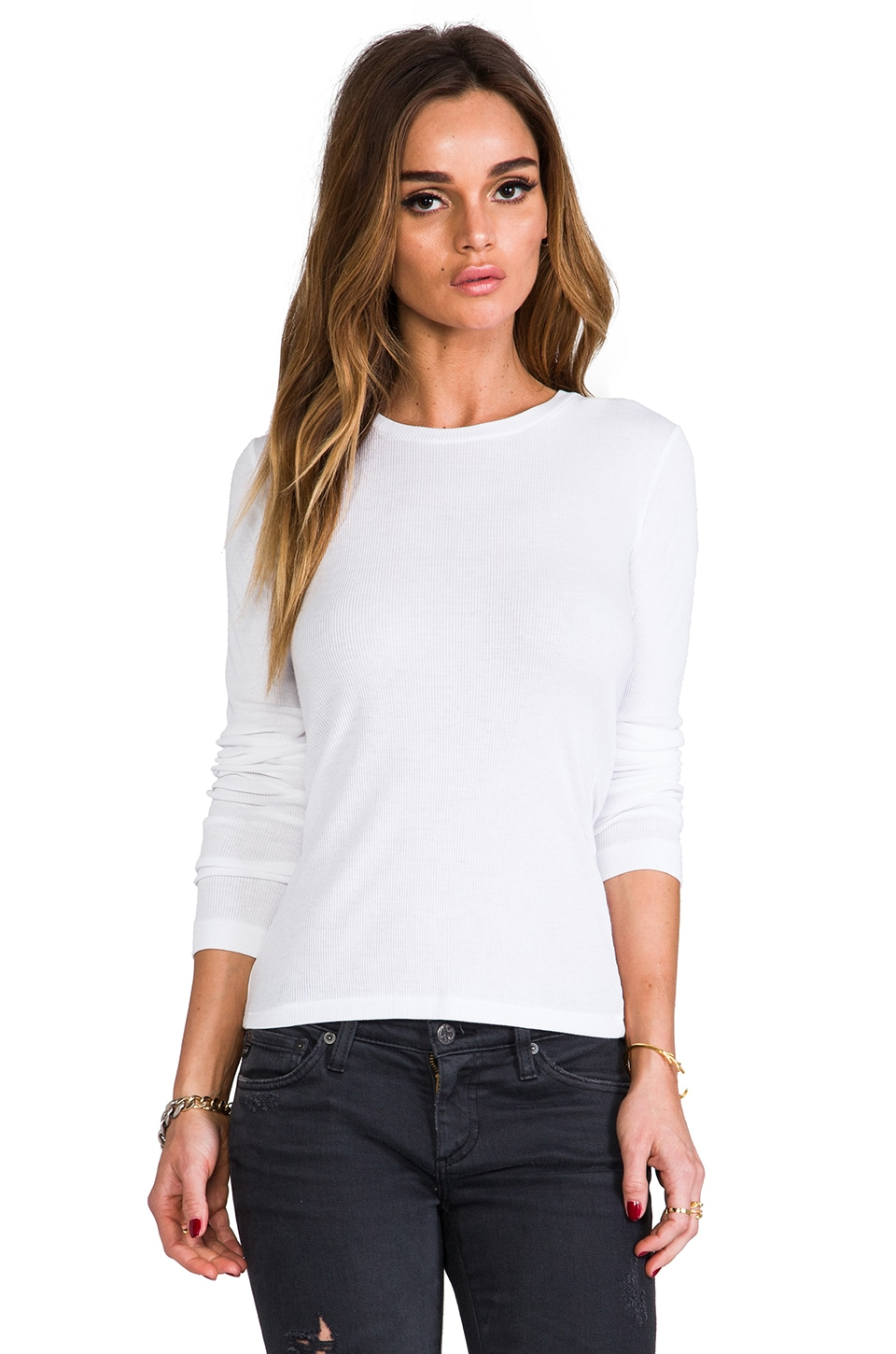 rag & bone/JEAN The Classic Ribbed L/S Tee in Bright White