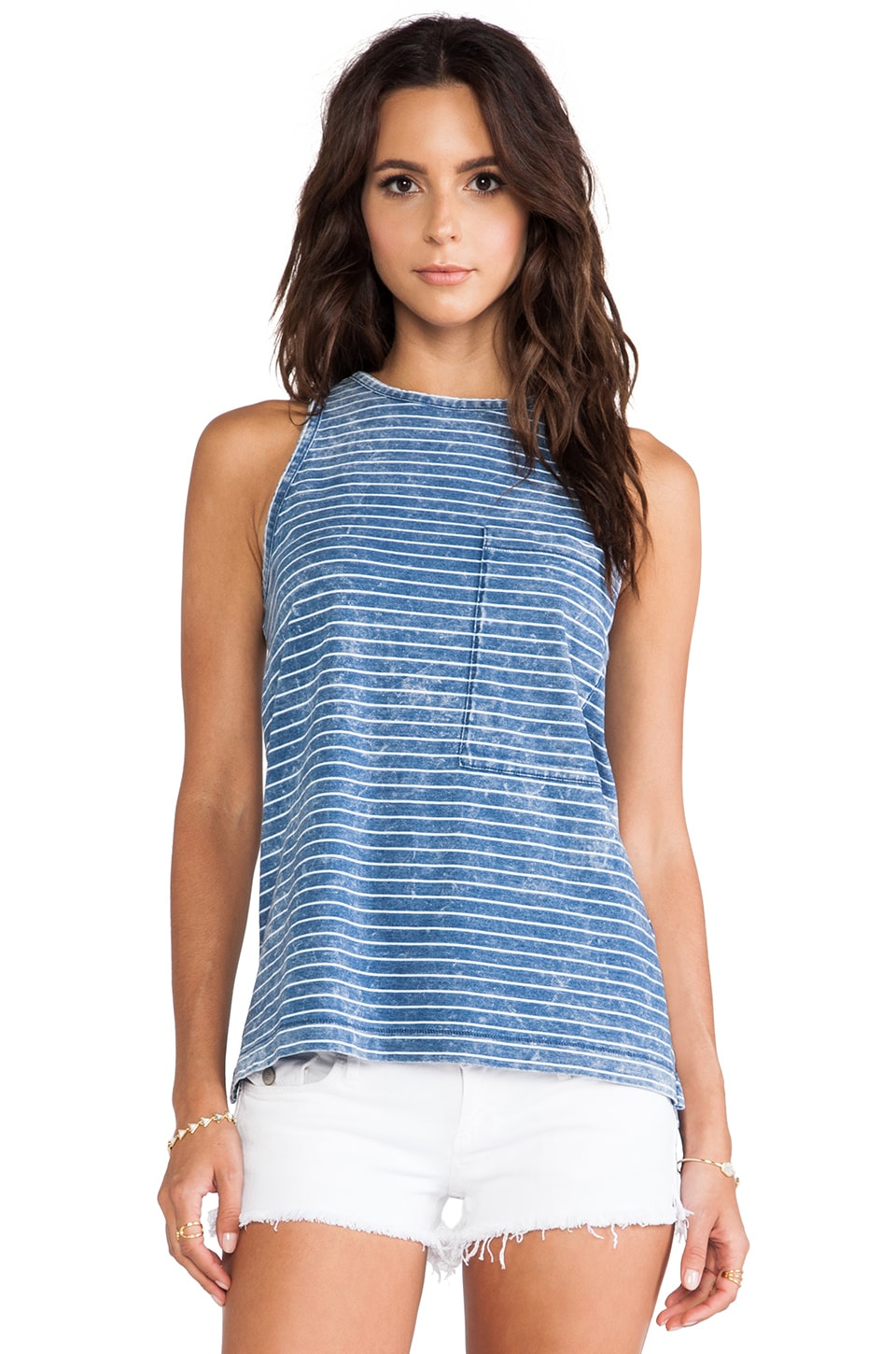 rag & bone/JEAN The Bowery Tank in Indigo Stripe