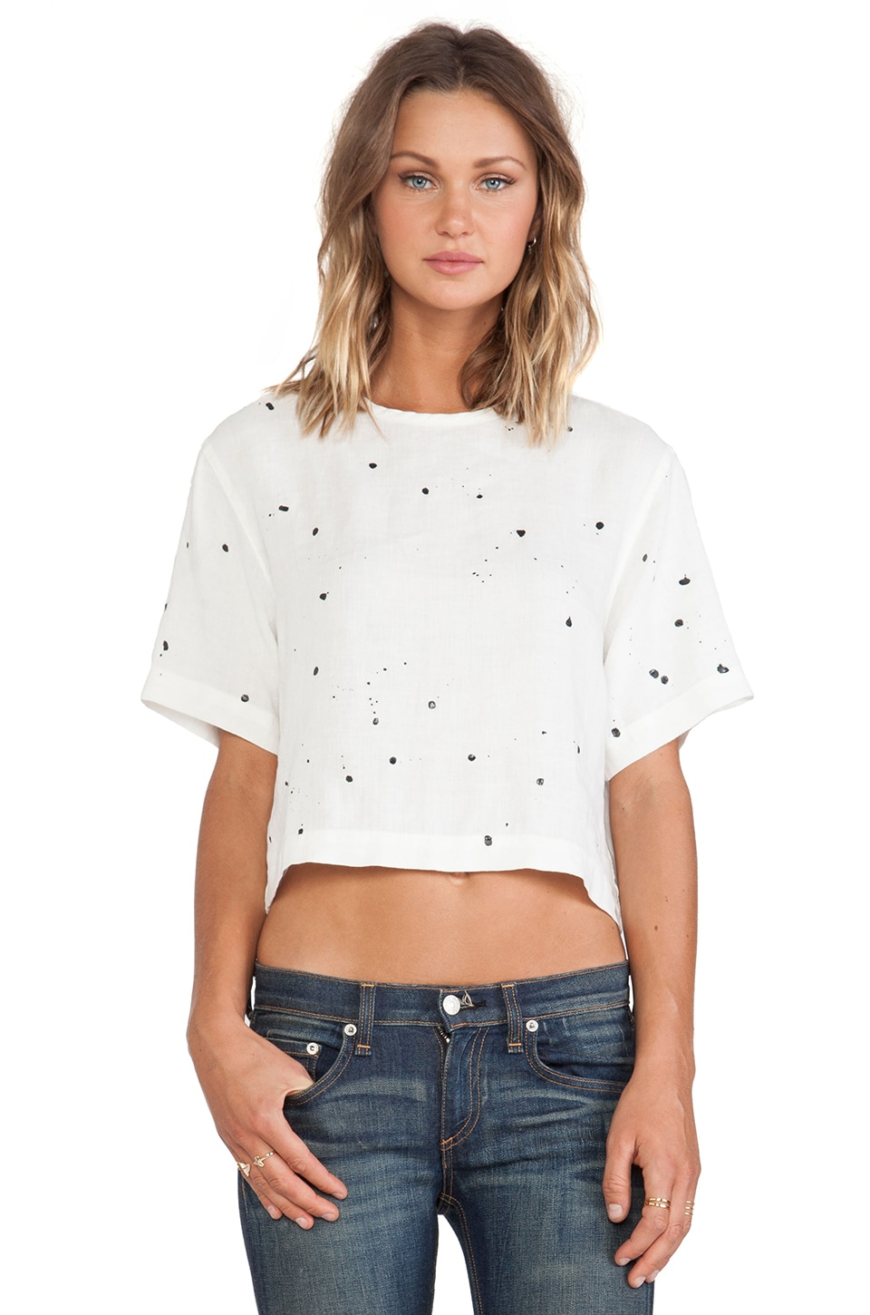 rag & bone/JEAN Crop Top in White Splatter