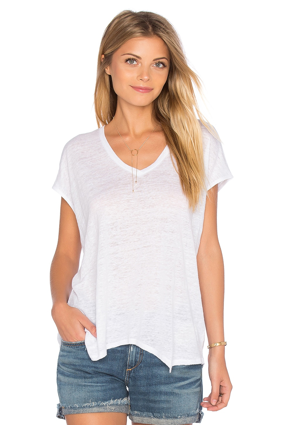 rag & bone/JEAN Malibu V Neck Tee in Bright White