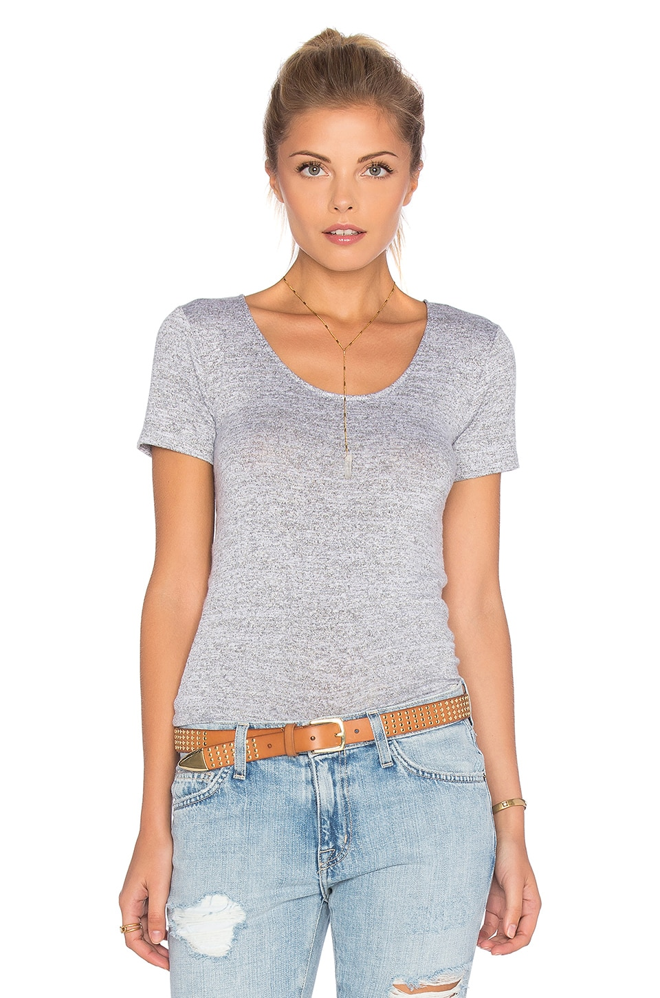 rag & bone/JEAN Melrose Tee in Light Heather Grey