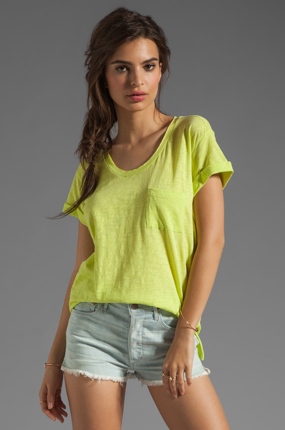 rag & bone/JEAN rag & bone The Pocket Tee in Fluorescent Green