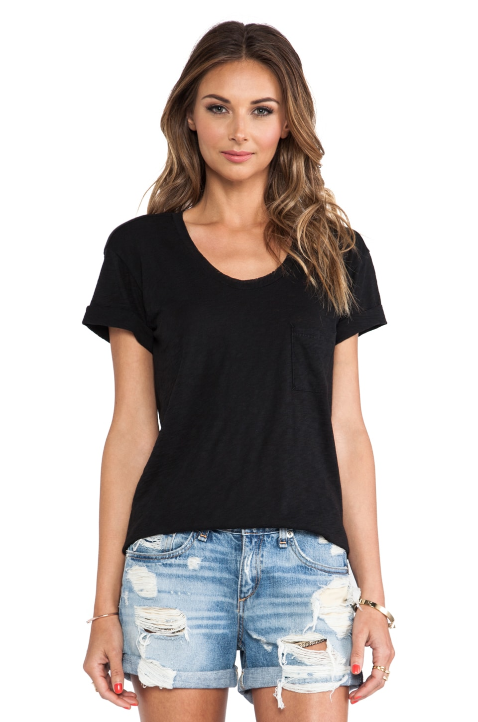 rag & bone/JEAN The Pocket Tee in Black