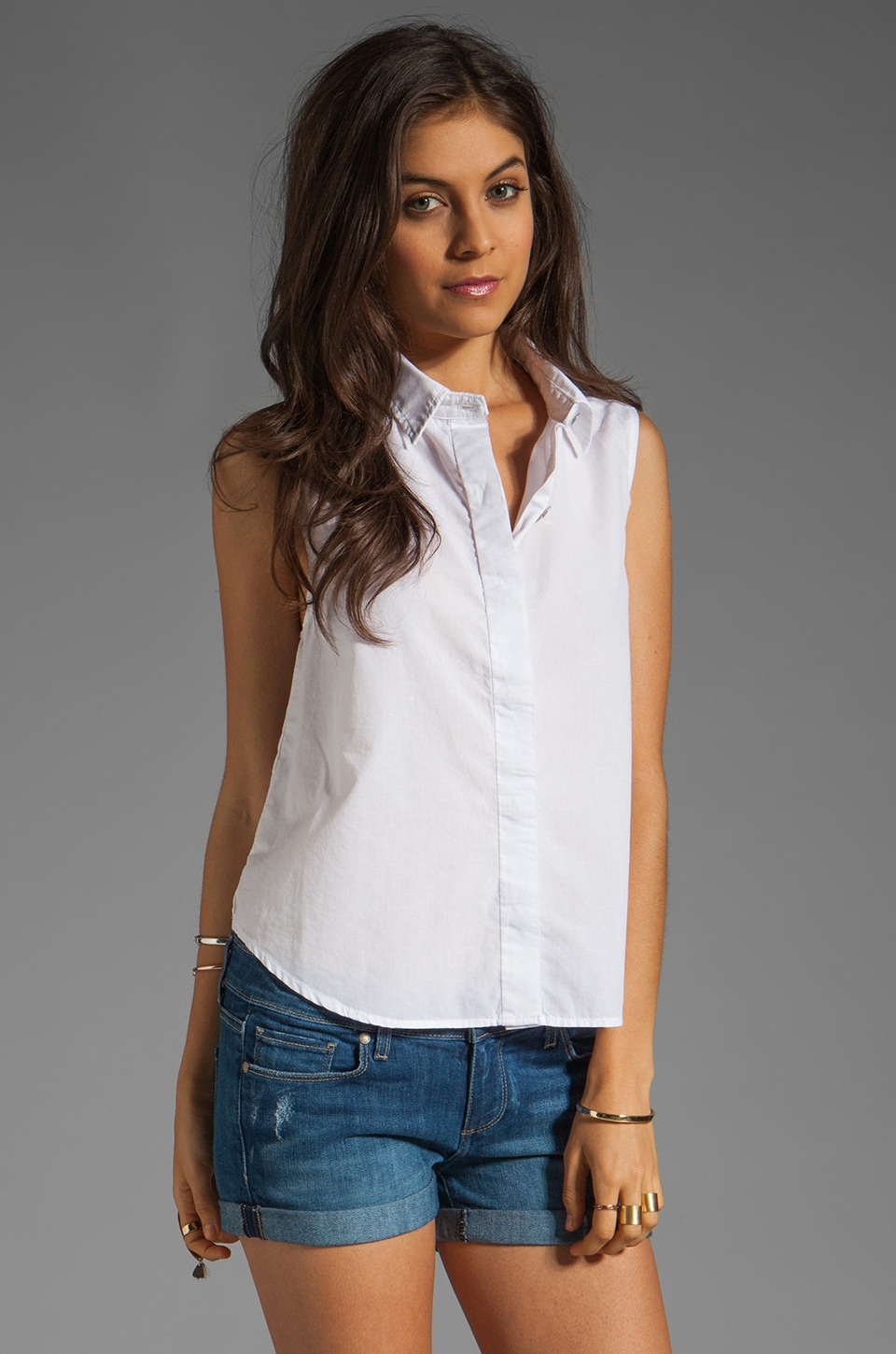 rag & bone/JEAN Tent Chambray Tank in Bright White