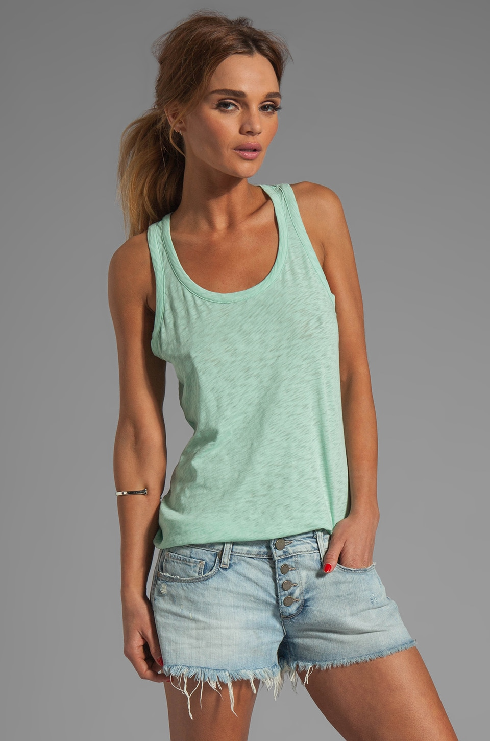 rag & bone/JEAN Classic Beater Tank in Celadon Green