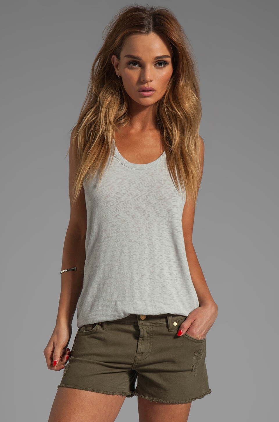 rag & bone/JEAN Classic Beater Tank in Light Grey