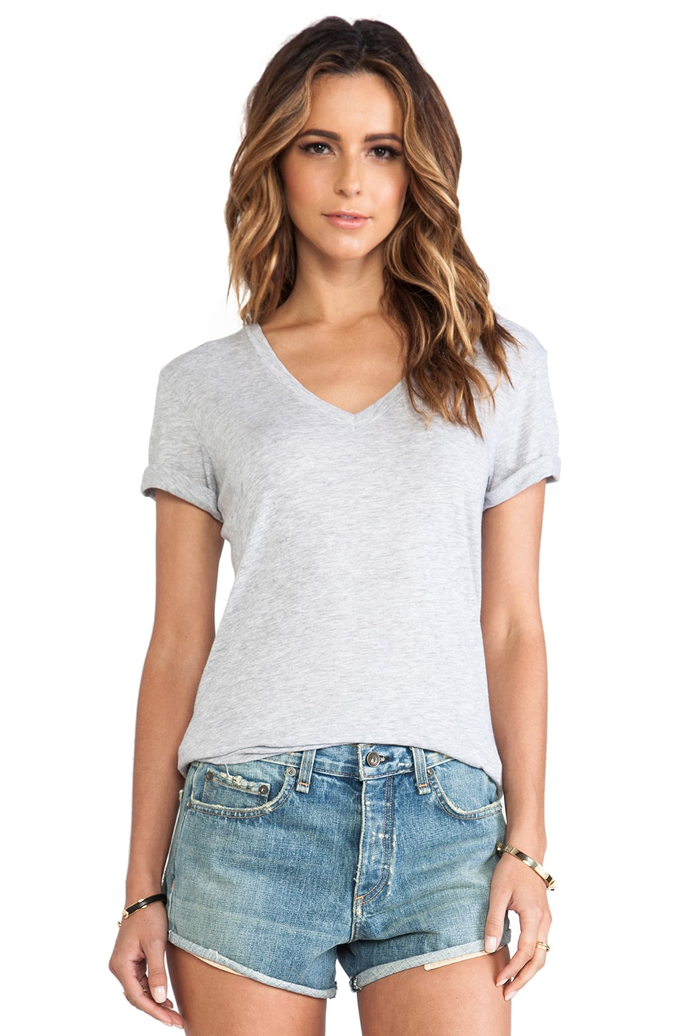 rag & bone/JEAN The Classic V Tee in Light Grey