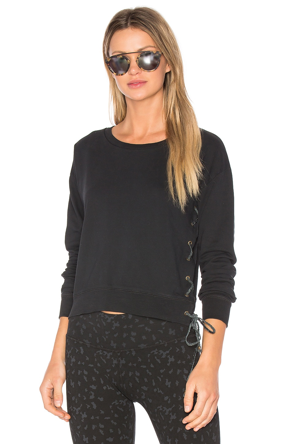 Lace Up Crop Sweatshirt by Ragdoll