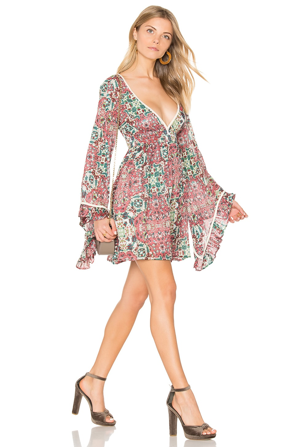 Raga Sunset Rose Bell Sleeve Dress in Rose
