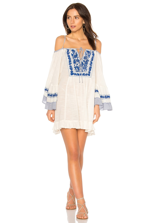 Raga Eva Cold Shoulder Short Dress in Eggshell