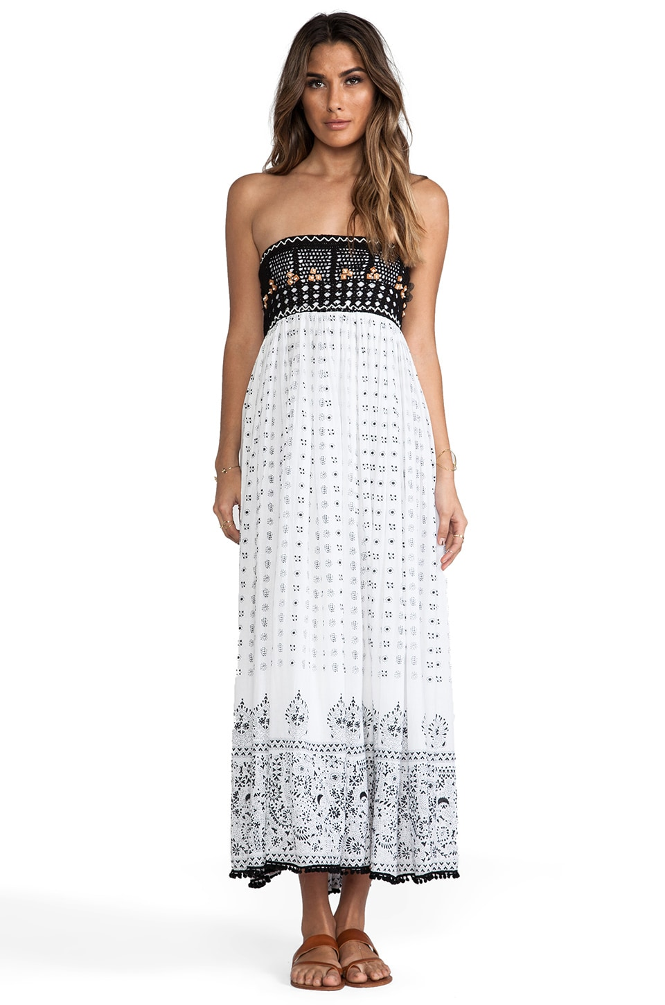 Raga Colorblocked Strapless Maxi Dress in Black & White