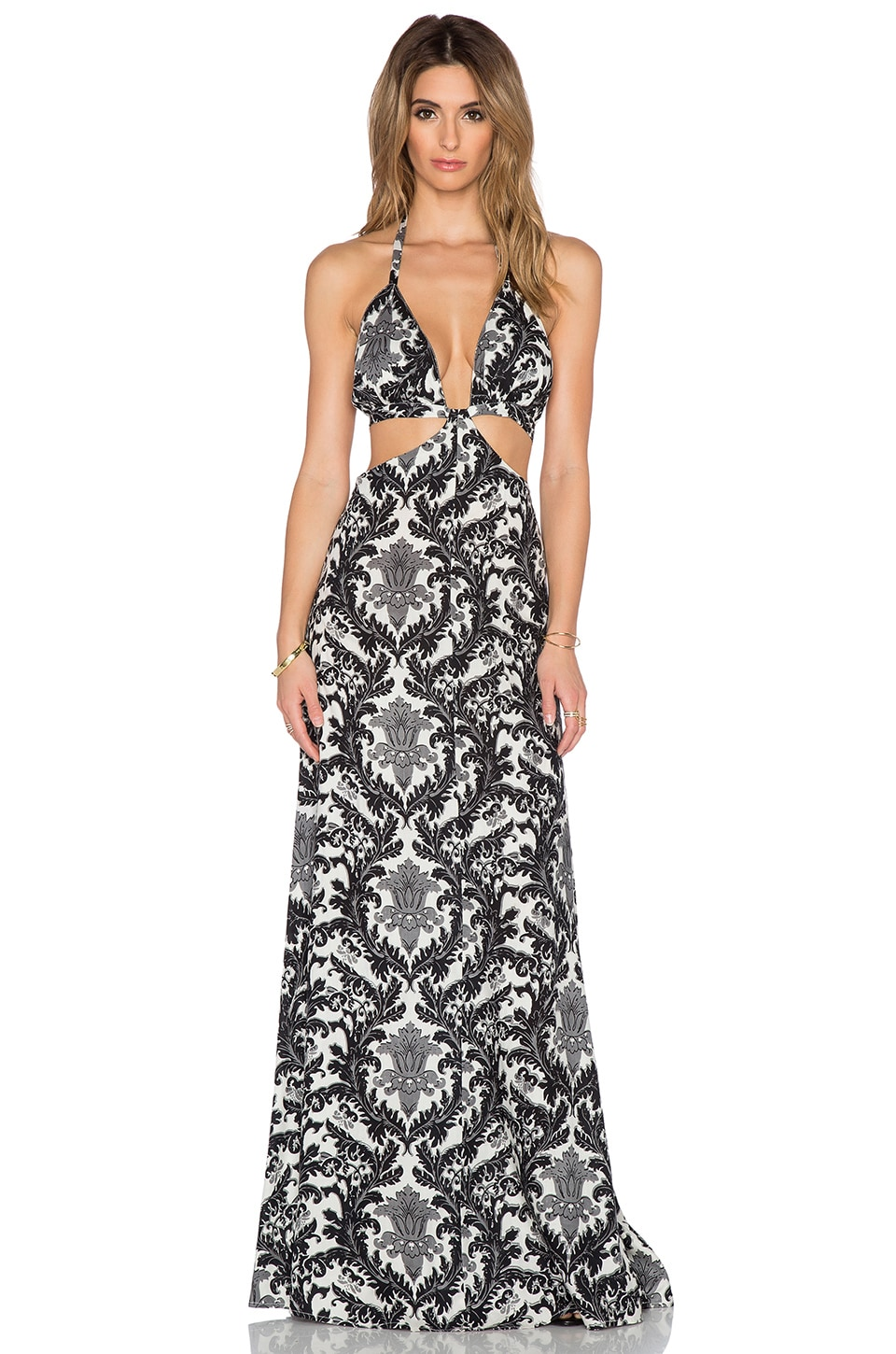 Raga Blackbird Cutout Maxi Dress in Black & White | REVOLVE