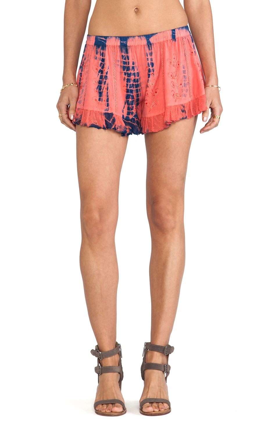 Raga Tie Dye Shorts in Burnt Orange