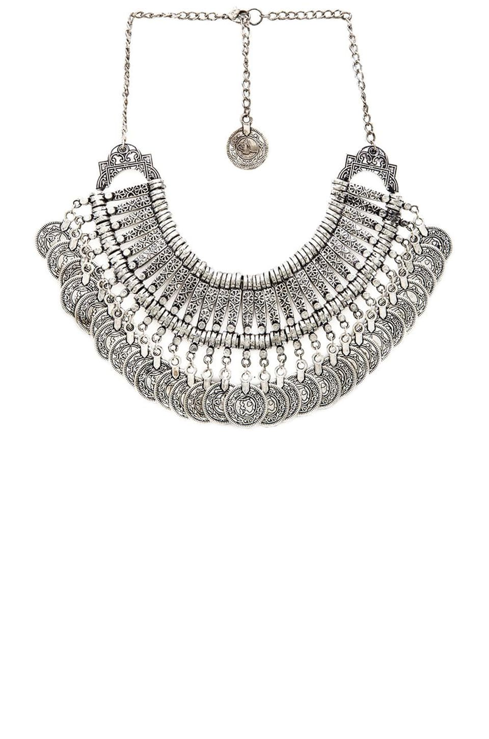 Raga Drop Coin Bib Necklace in Silver
