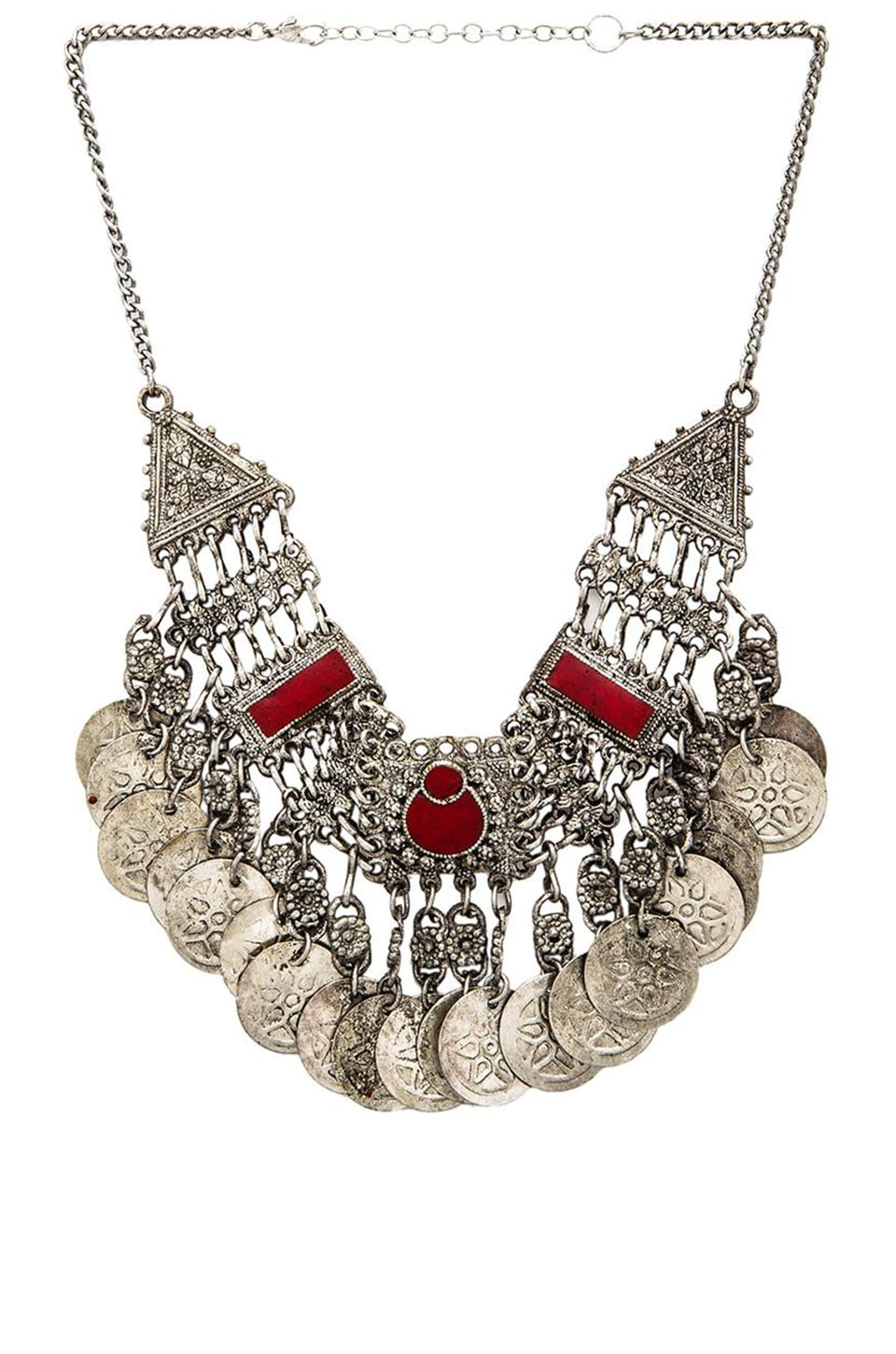 Raga Coin Chain Necklace in Red