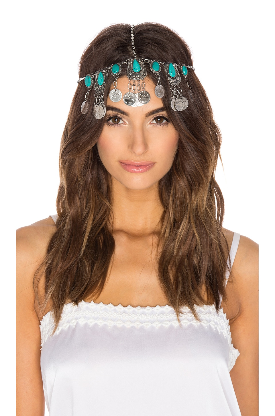 Raga Turquoise Stone & Coin Headpiece in Silver