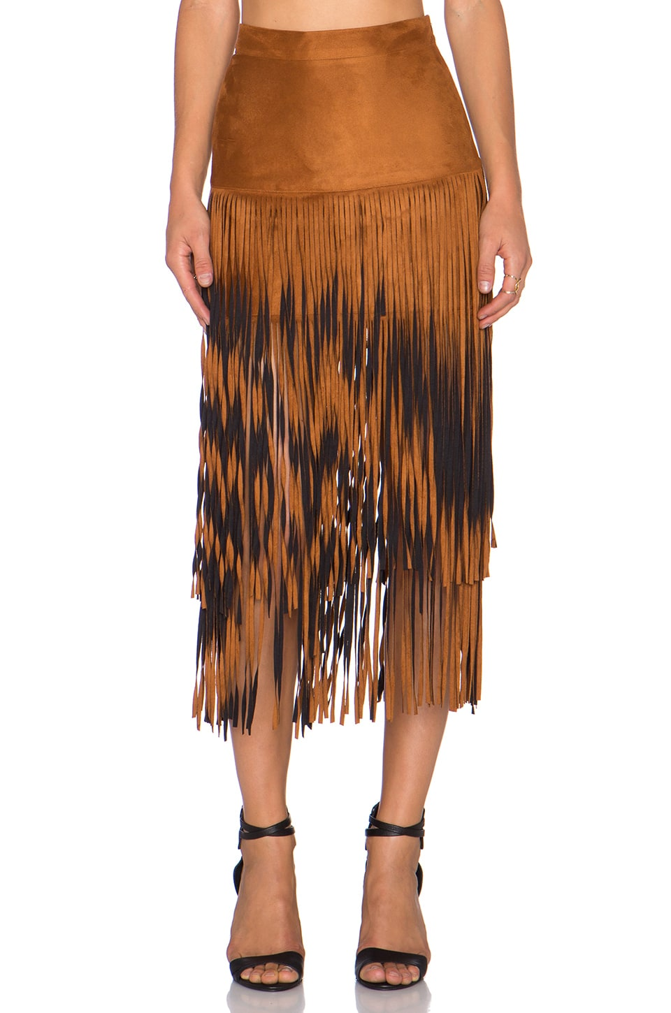 Raga Desert Fringe Skirt in Chestnut