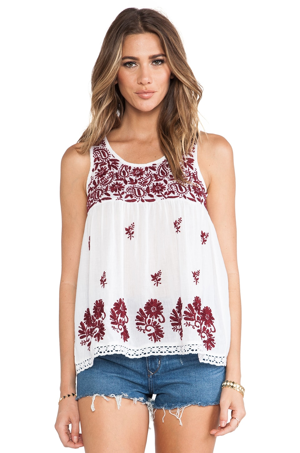 Raga Embroidered Tank Top in Maroon
