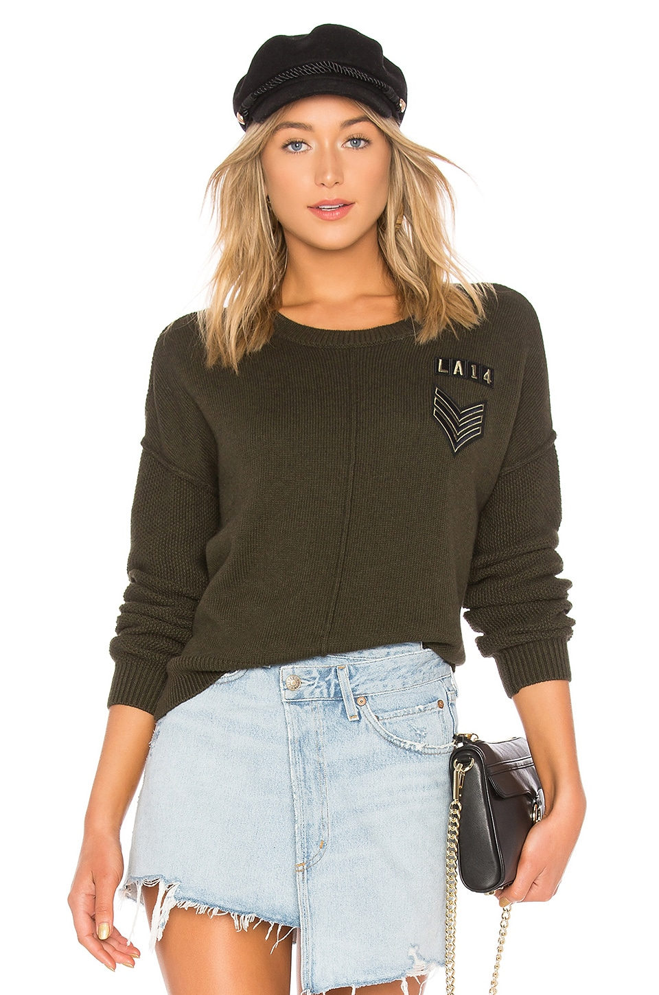 Stafford Crewneck Military-Patch Knit Sweater W/ Seam Details in Olive