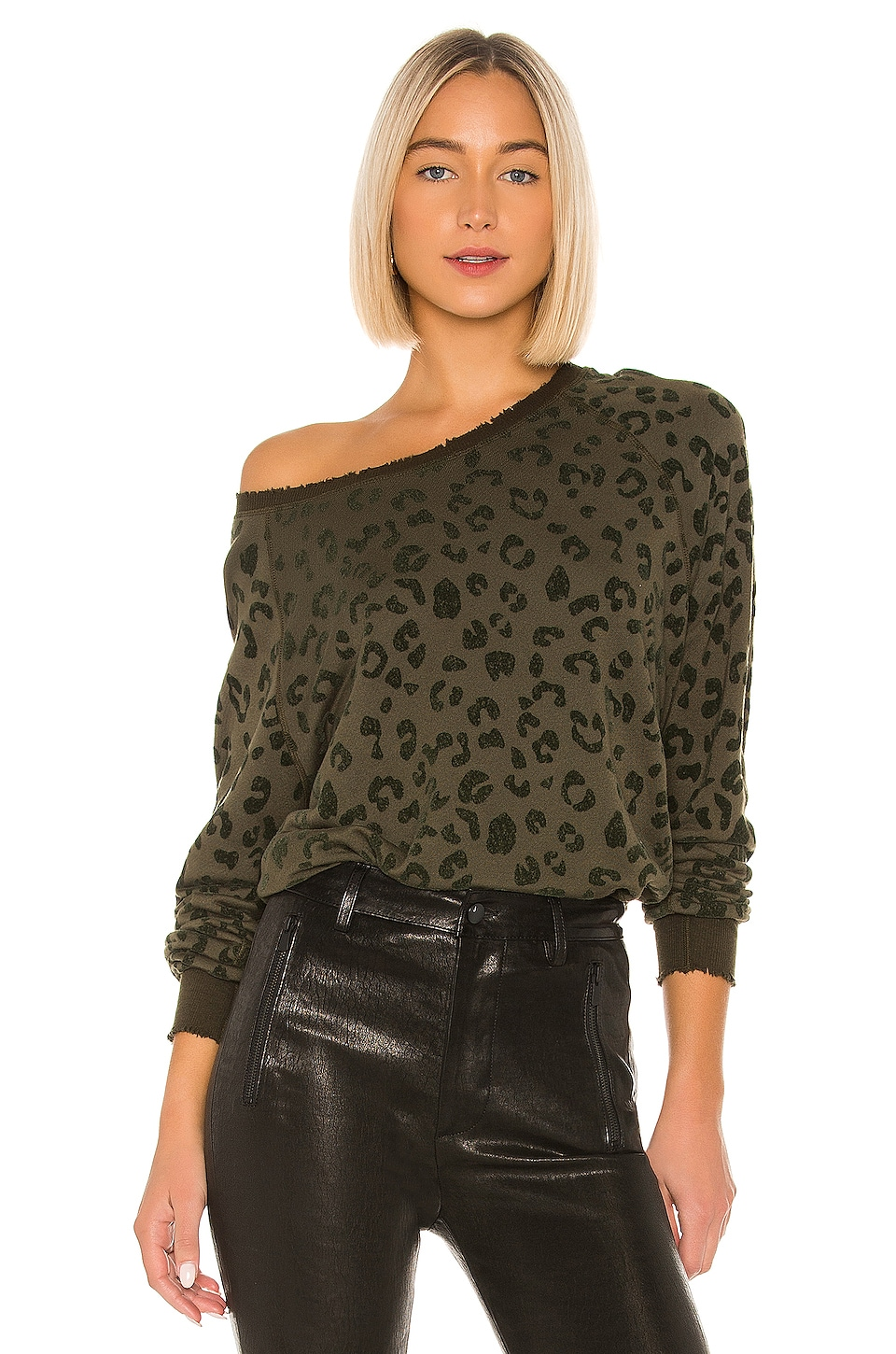 Rails Theo Sweatshirt in Flocked Olive Leopard