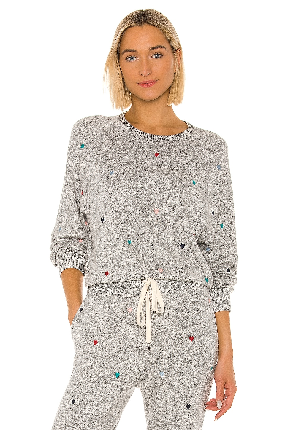 Rails Mika Sweatshirt in Melange Grey Rainbow Hearts