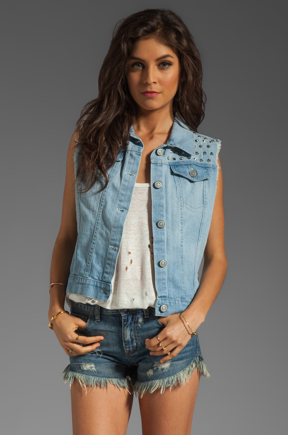 Rails Diego Denim Vest in Vintage Wash with Studs