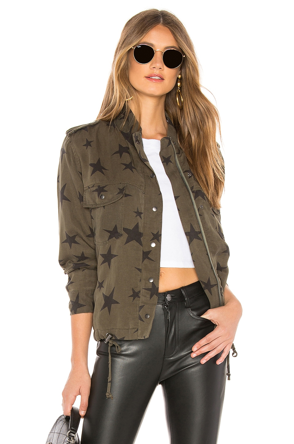 Rails Collins Military Jacket in Sage With Black Stars