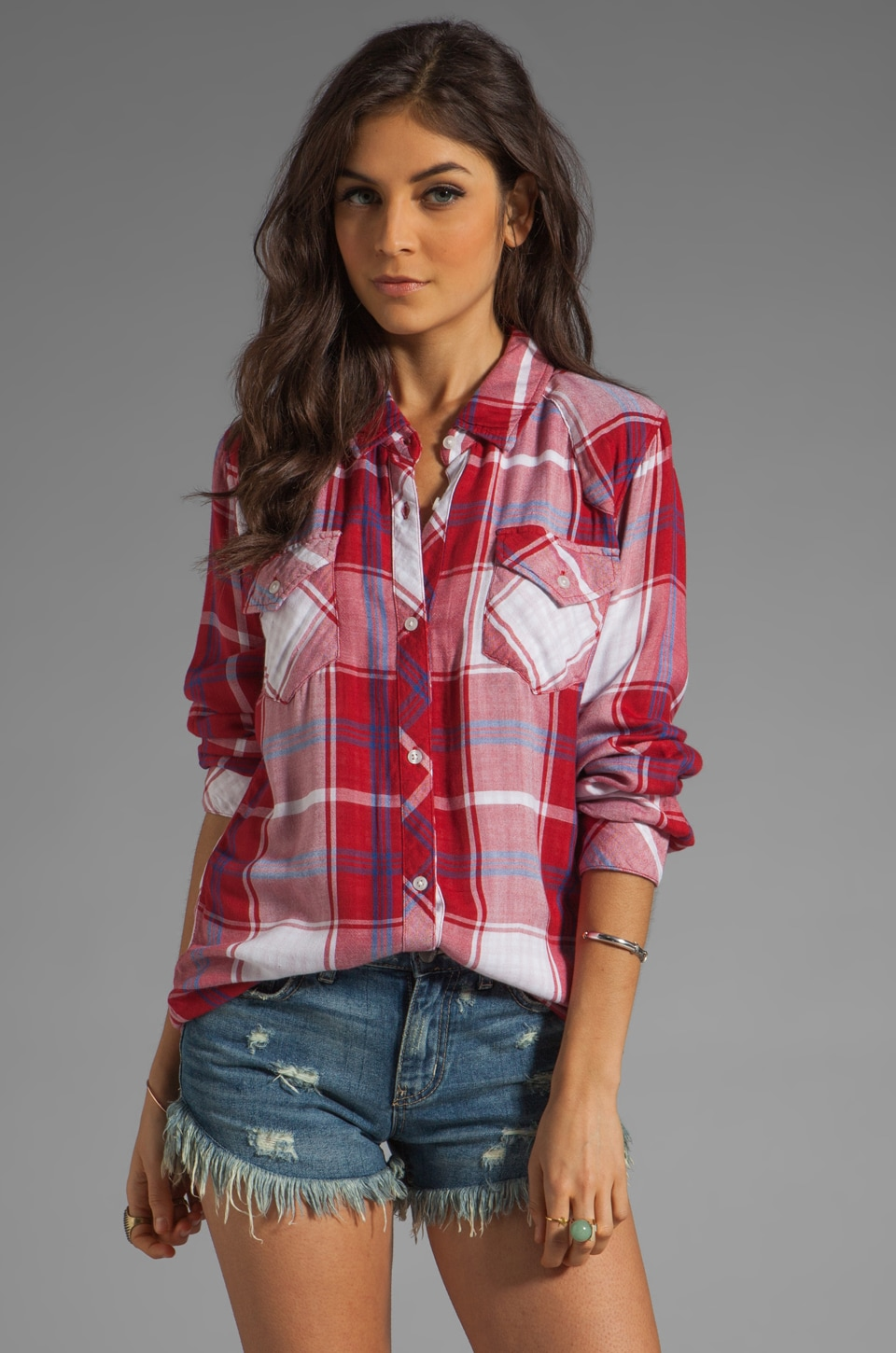 Rails Kendra Tencel Button Down in Red/White