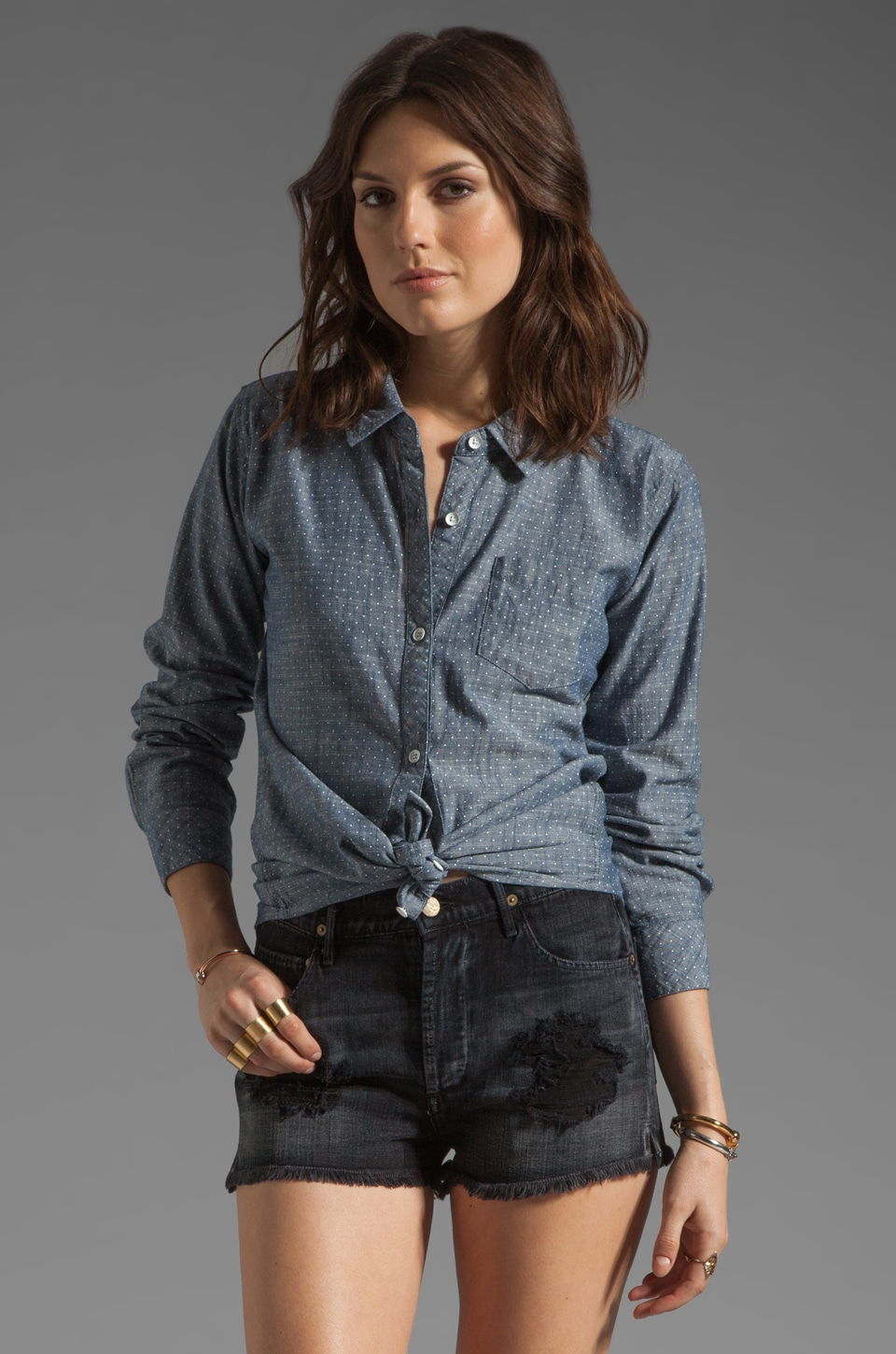 Rails Chase Chambray Button Down in Polka Dot Chambray