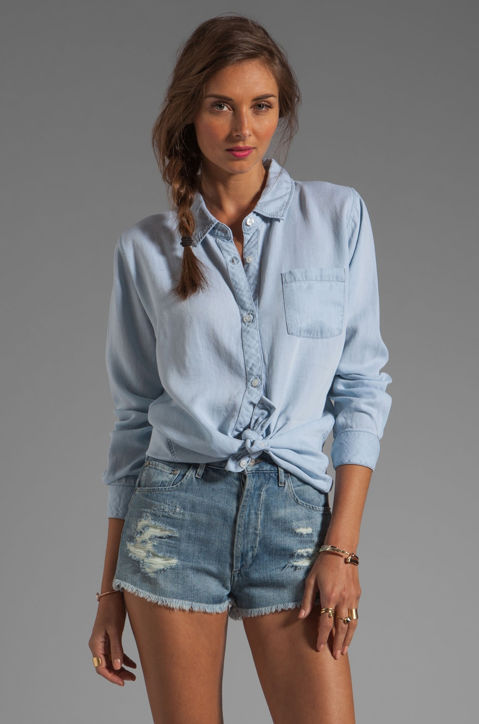 Rails Blake Tencel Denim Button Down in Light Blue