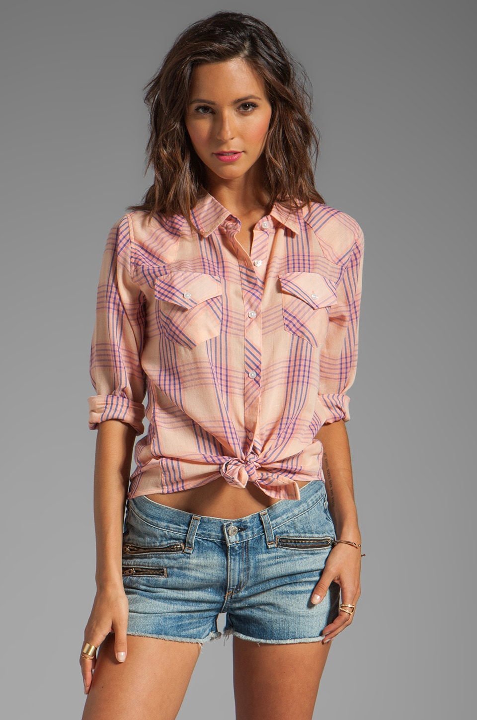 Rails Taylor Gauze Button Down in Pink/Blue