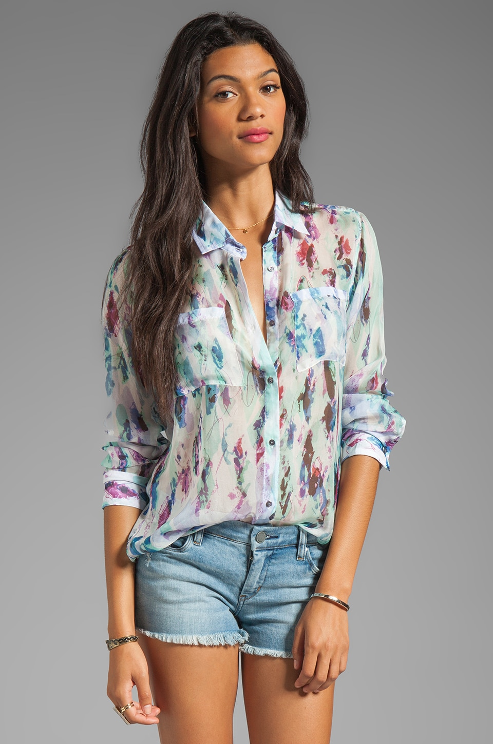 Rails Kate Silk Button Down in Multi Print