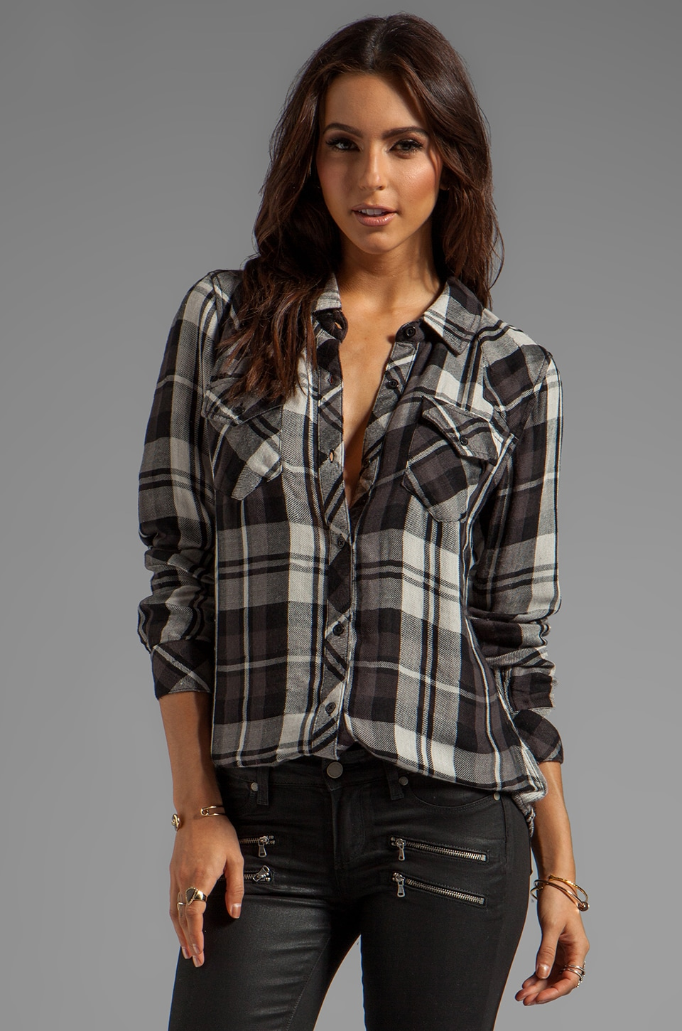 Rails Kendra Tencel Button Down in Black/Grey