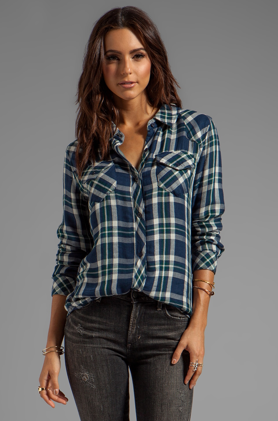 Rails Kendra Tencel Button Down in Navy/Green
