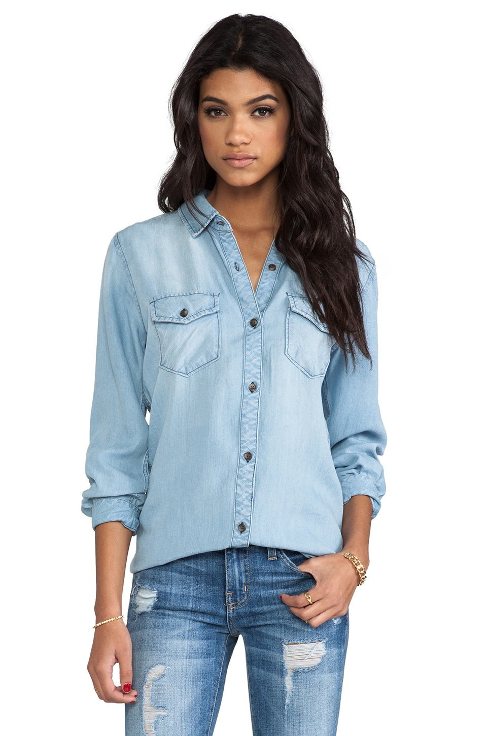 Rails Kendall Denim Button Down in Light Vintage