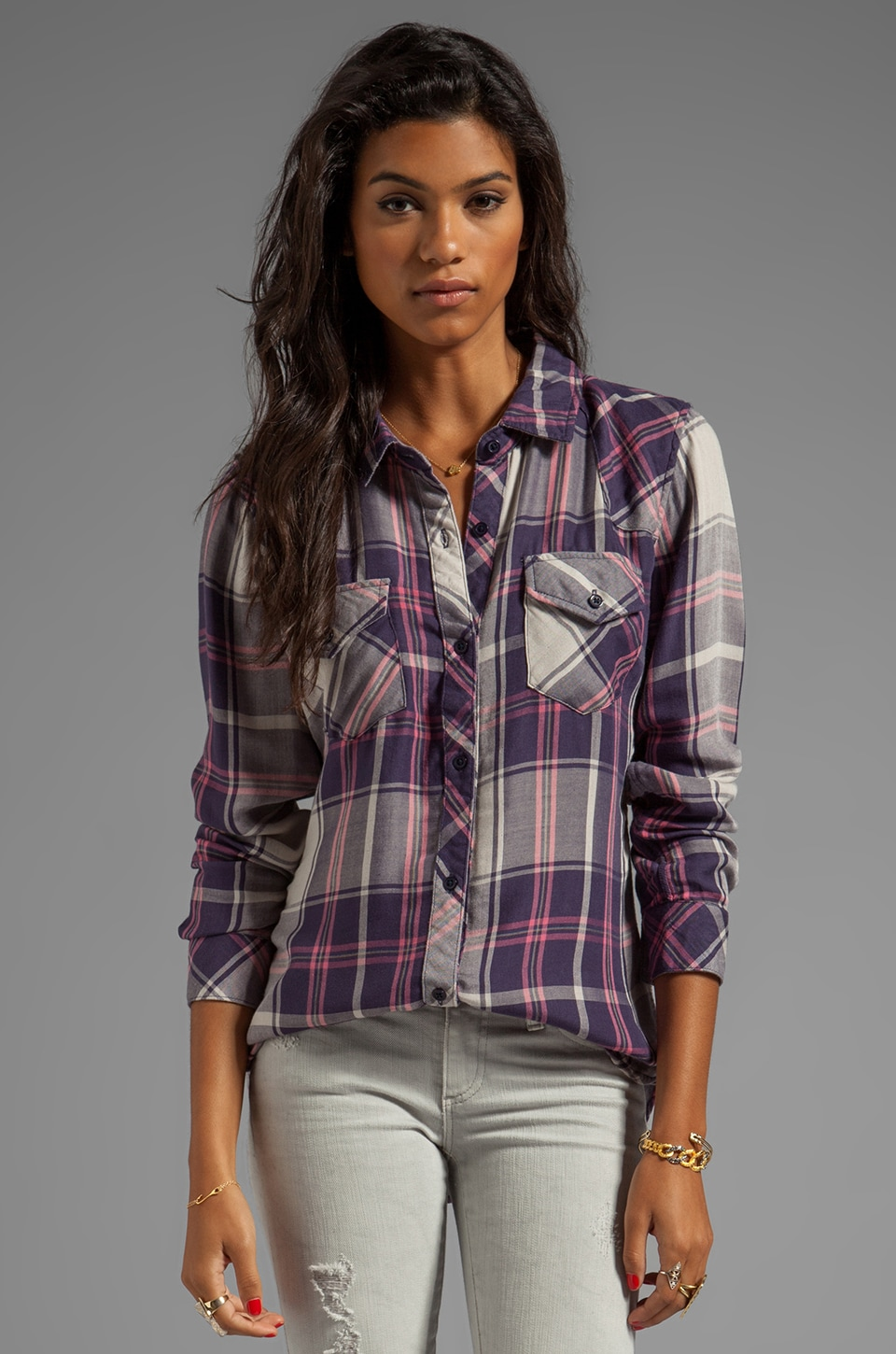 Rails Kendra Tencel Button Down in Navy/Pink