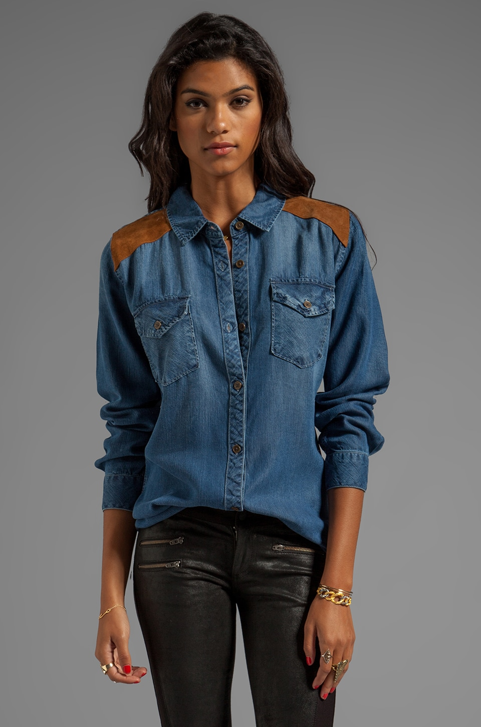 Rails Ashlyn Denim Button Down in Blue/Brown
