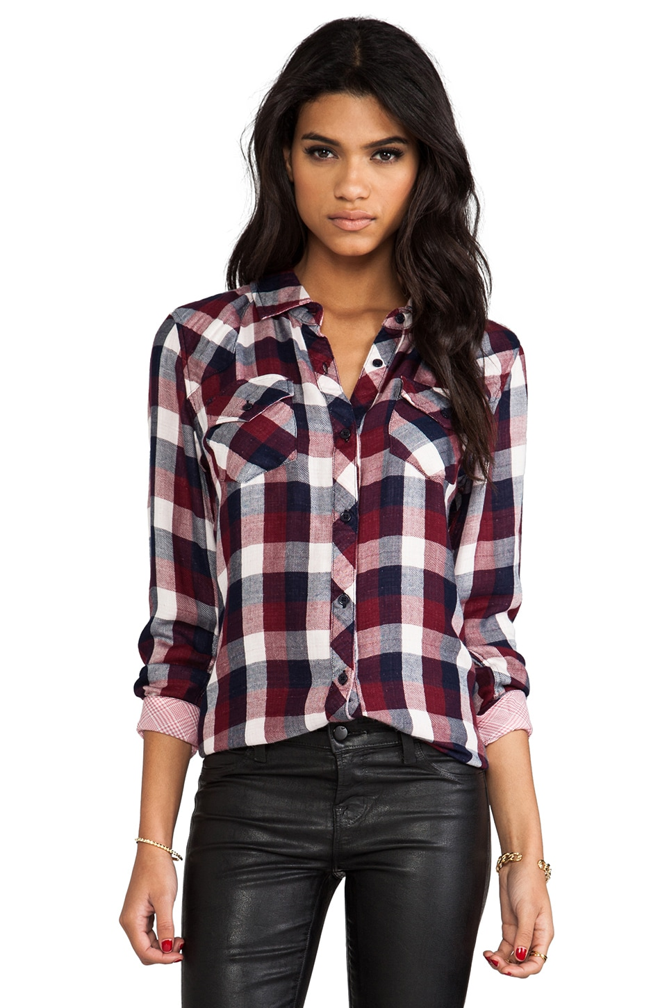 Rails Kendra Button Down in Maroon Check