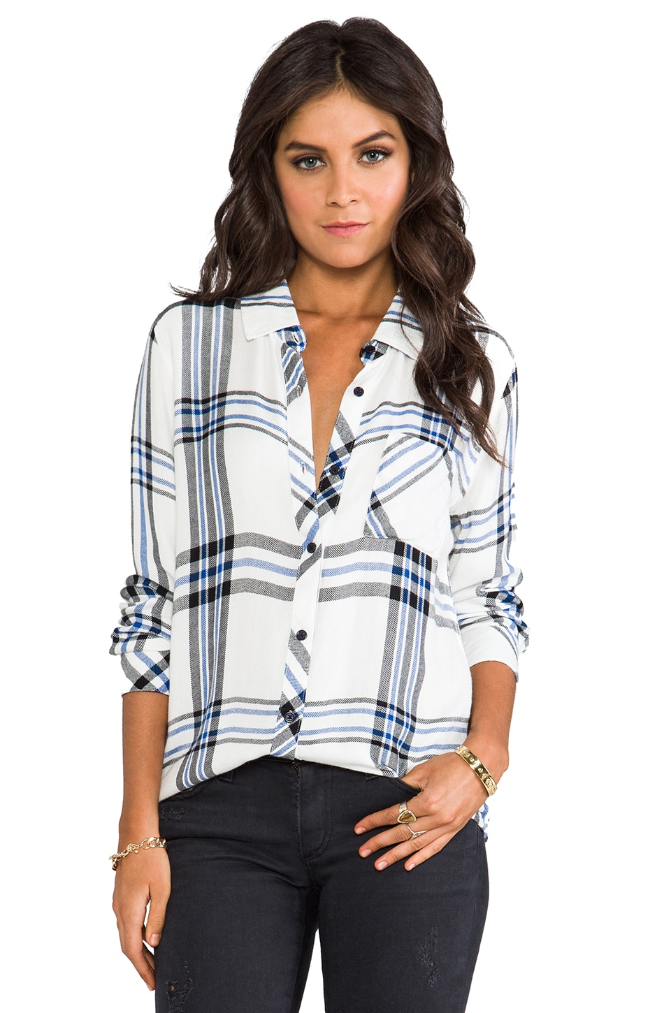 Rails Hunter Button Down in White/Cobalt